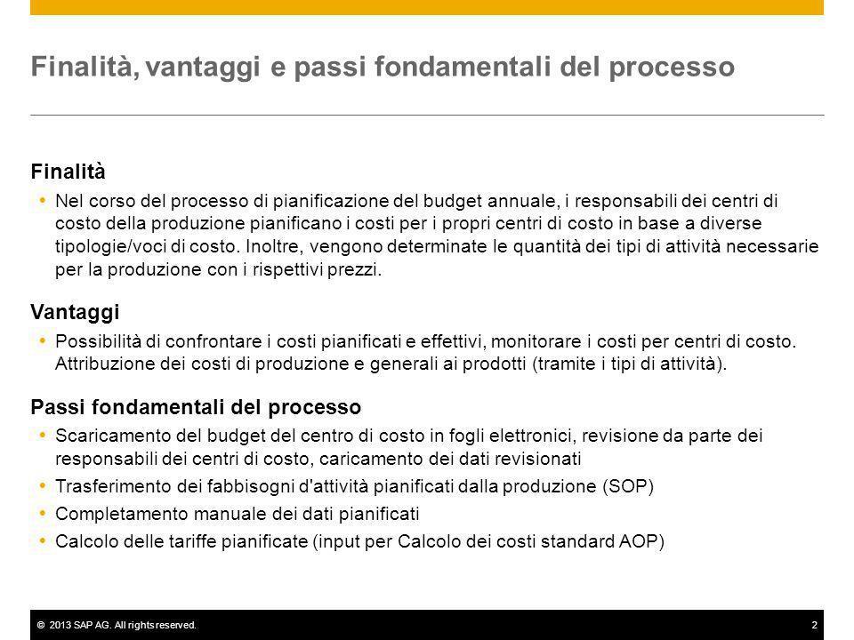 ©2013 SAP AG. All rights reserved.2 Finalità, vantaggi e passi fondamentali del processo Finalità Nel corso del processo di pianificazione del budget