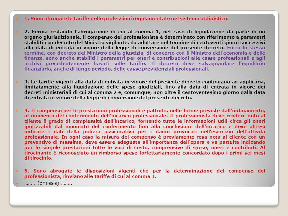 1. Sono abrogate le tariffe delle professioni regolamentate nel sistema ordinistico.