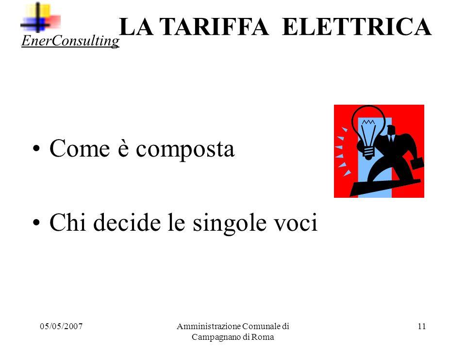 05/05/2007Amministrazione Comunale di Campagnano di Roma 10 Potenza Quantità che caratterizzano offerta e costi elettricità Energia Attiva Energia Rea
