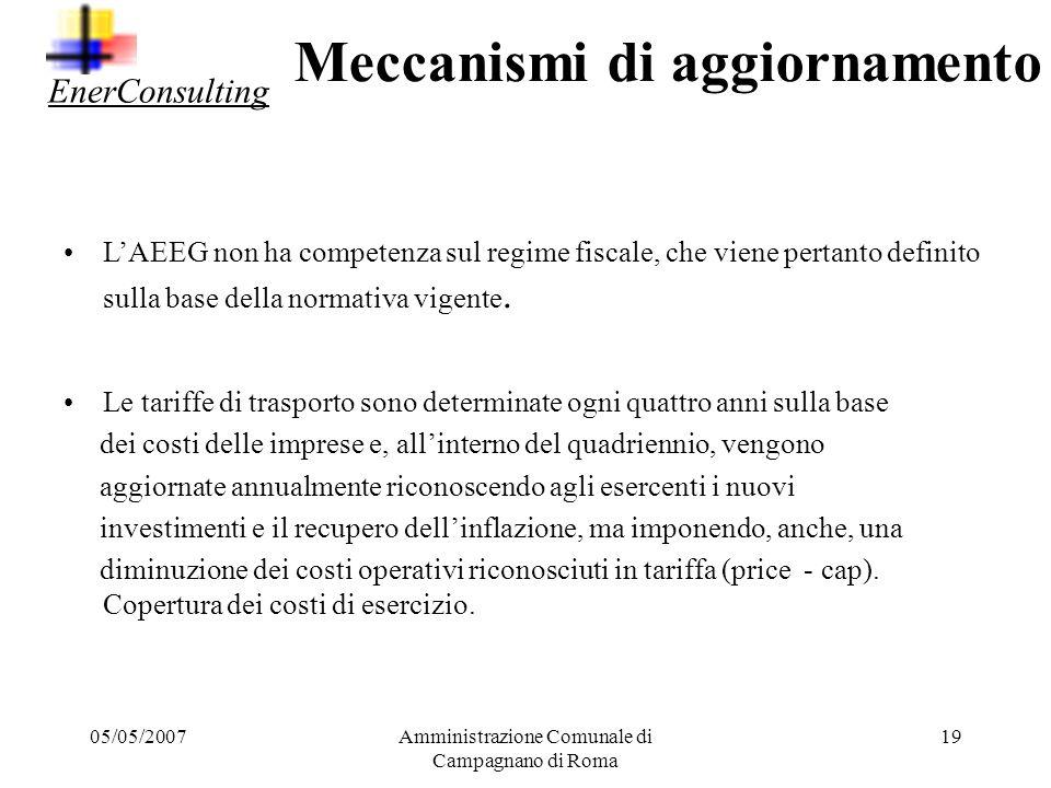 05/05/2007Amministrazione Comunale di Campagnano di Roma 18 La composizione delle singole voci può variare a seconda che si tratti della tariffa per i