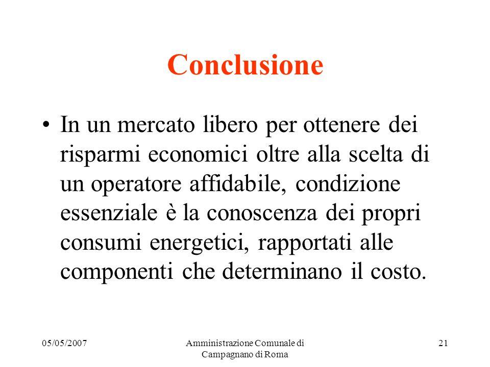 05/05/2007Amministrazione Comunale di Campagnano di Roma 20 Per gli oneri di sistema vengono monitorati (trimestralmente) i costi da coprire e, ove pe