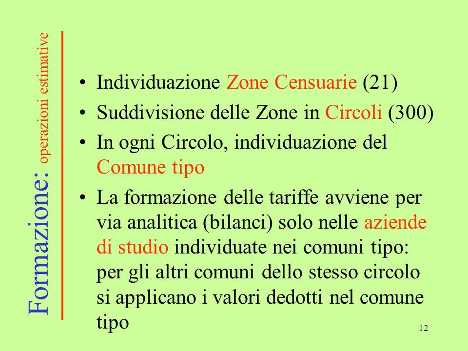 12 Individuazione Zone Censuarie (21) Suddivisione delle Zone in Circoli (300) In ogni Circolo, individuazione del Comune tipo La formazione delle tar