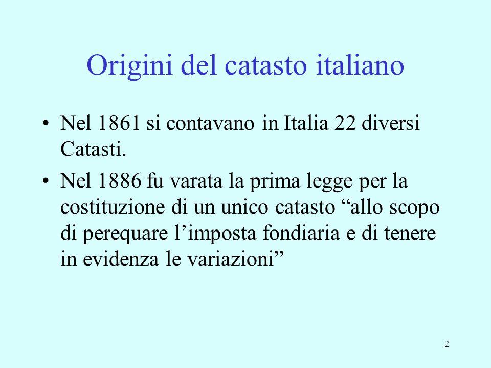 2 Origini del catasto italiano Nel 1861 si contavano in Italia 22 diversi Catasti. Nel 1886 fu varata la prima legge per la costituzione di un unico c