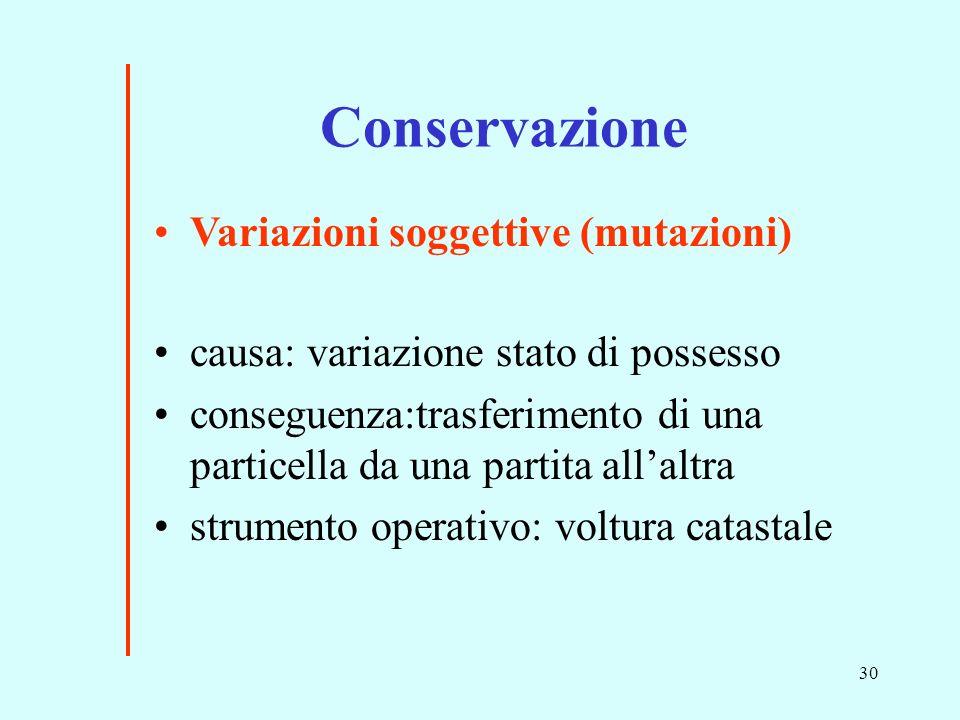 30 causa: variazione stato di possesso conseguenza:trasferimento di una particella da una partita allaltra strumento operativo: voltura catastale Conservazione Variazioni soggettive (mutazioni)