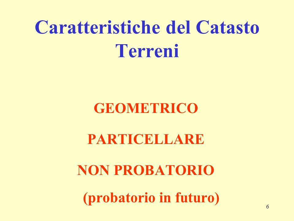 6 Caratteristiche del Catasto Terreni GEOMETRICO PARTICELLARE NON PROBATORIO (probatorio in futuro)