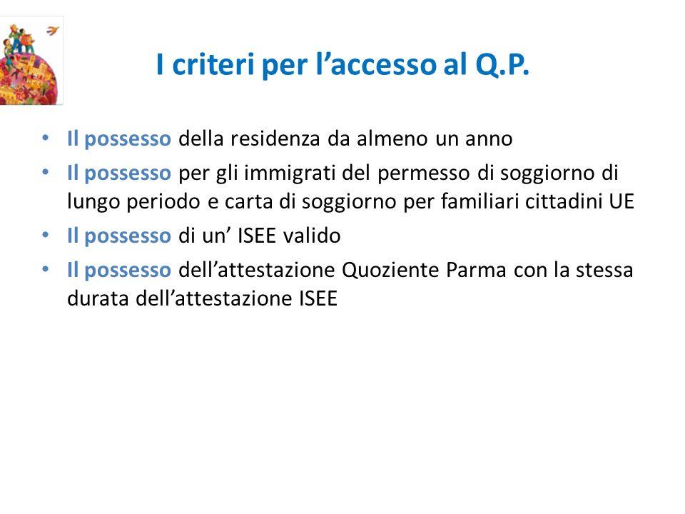 I criteri per laccesso al Q.P.