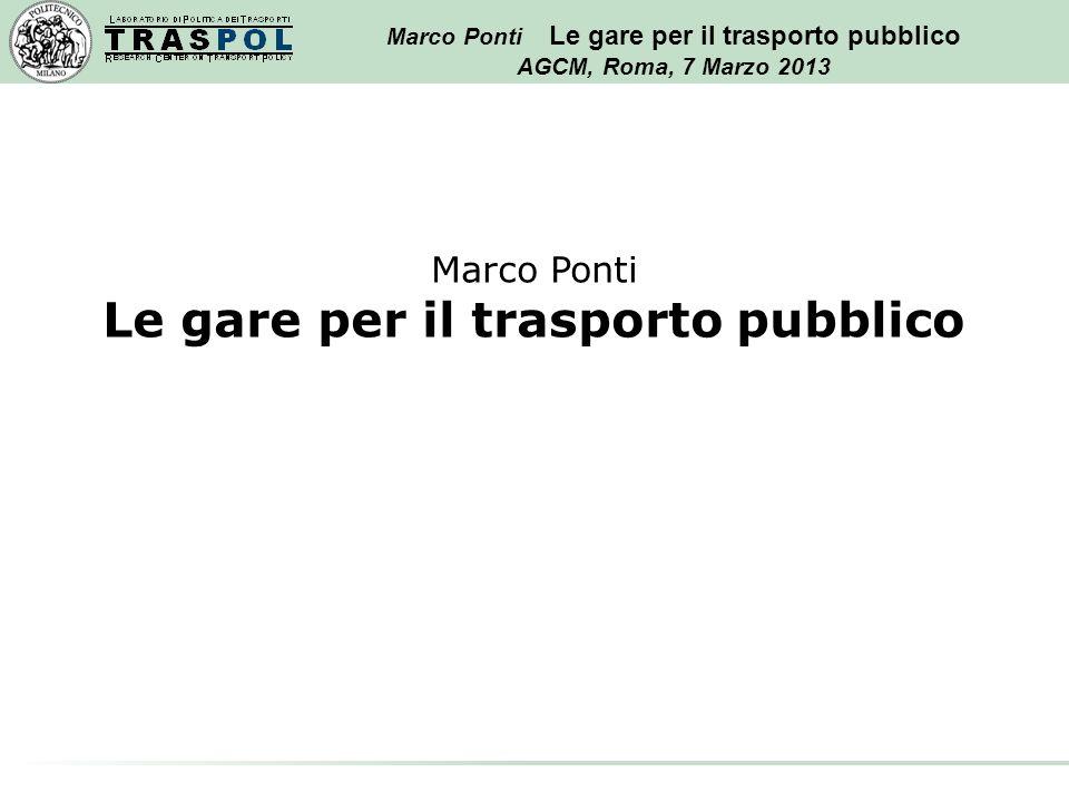 Marco Ponti Le gare per il trasporto pubblico AGCM, Roma, 7 Marzo 2013 Marco Ponti Le gare per il trasporto pubblico