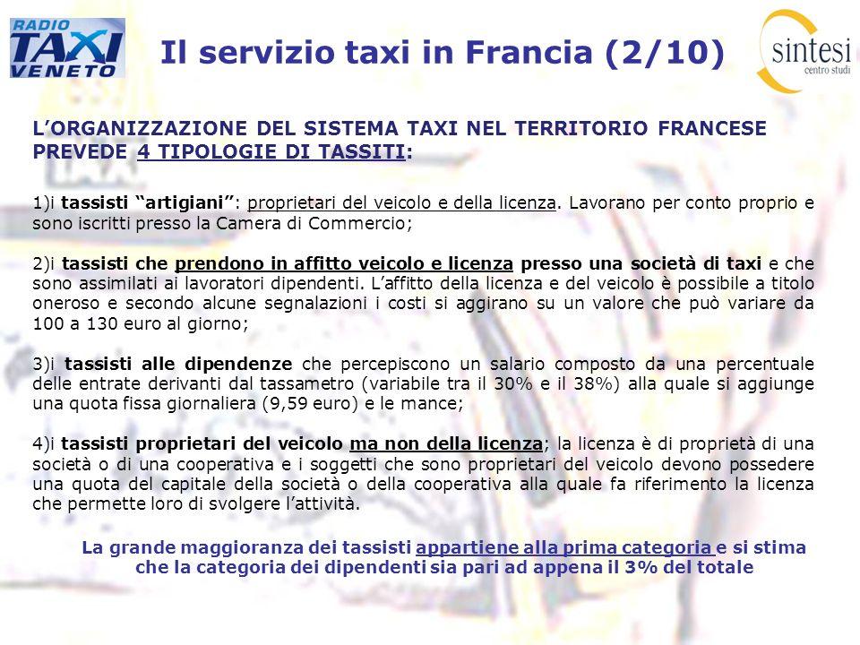 Il servizio taxi in Francia (2/10) LORGANIZZAZIONE DEL SISTEMA TAXI NEL TERRITORIO FRANCESE PREVEDE 4 TIPOLOGIE DI TASSITI: 1)i tassisti artigiani: pr