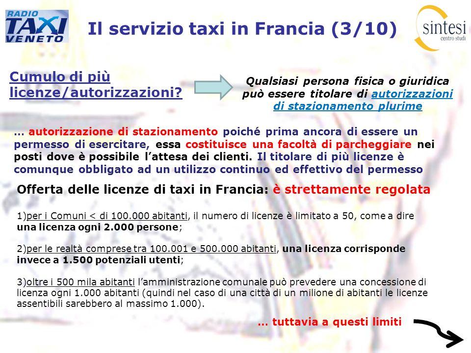 Il servizio taxi in Francia (3/10) Cumulo di più licenze/autorizzazioni? Qualsiasi persona fisica o giuridica può essere titolare di autorizzazioni di