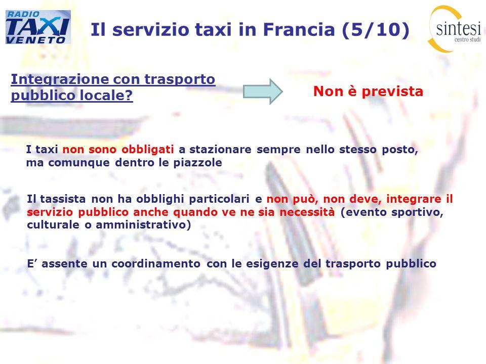 Il servizio taxi in Francia (5/10) Integrazione con trasporto pubblico locale? Non è prevista I taxi non sono obbligati a stazionare sempre nello stes