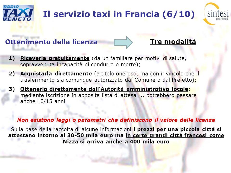Il servizio taxi in Francia (6/10) Ottenimento della licenza Tre modalità 1)Riceverla gratuitamente (da un familiare per motivi di salute, sopravvenut