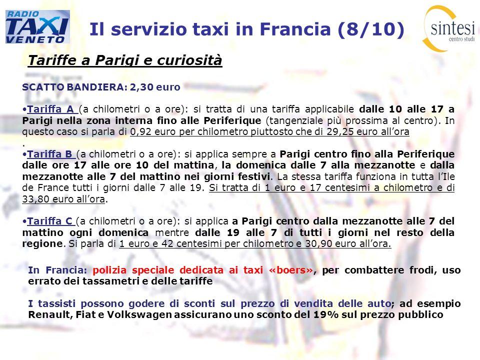 Il servizio taxi in Francia (8/10) Tariffe a Parigi e curiosità SCATTO BANDIERA: 2,30 euro Tariffa A (a chilometri o a ore): si tratta di una tariffa