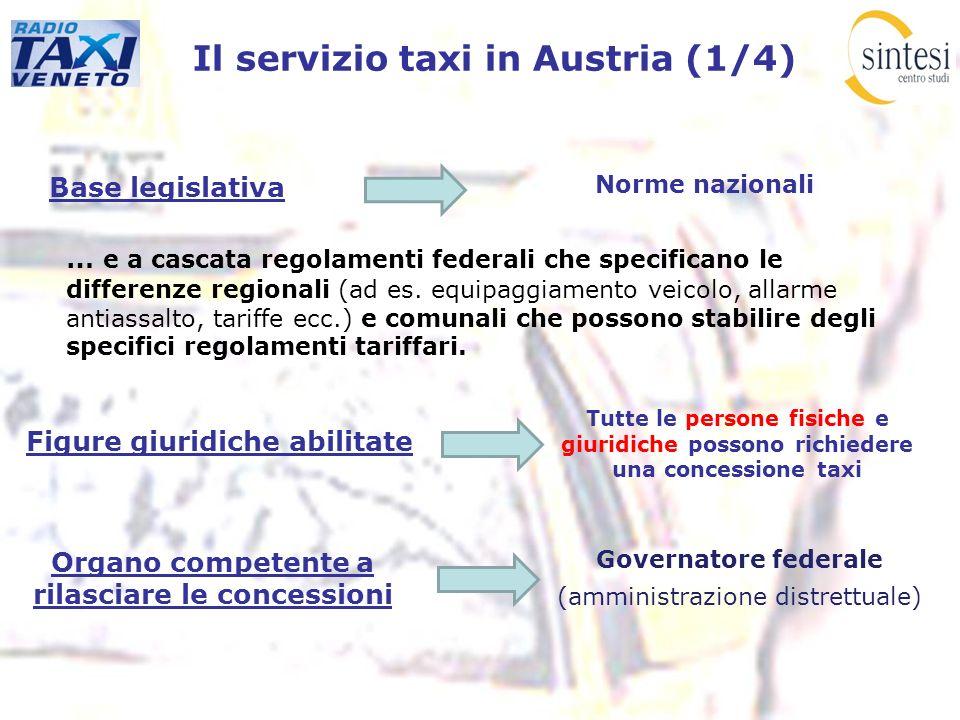Il servizio taxi in Austria (1/4) Base legislativa … e a cascata regolamenti federali che specificano le differenze regionali (ad es. equipaggiamento