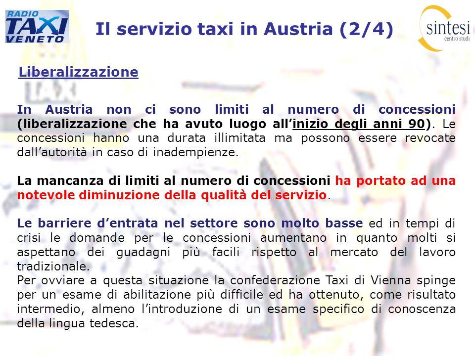 Il servizio taxi in Austria (2/4) Liberalizzazione In Austria non ci sono limiti al numero di concessioni (liberalizzazione che ha avuto luogo alliniz