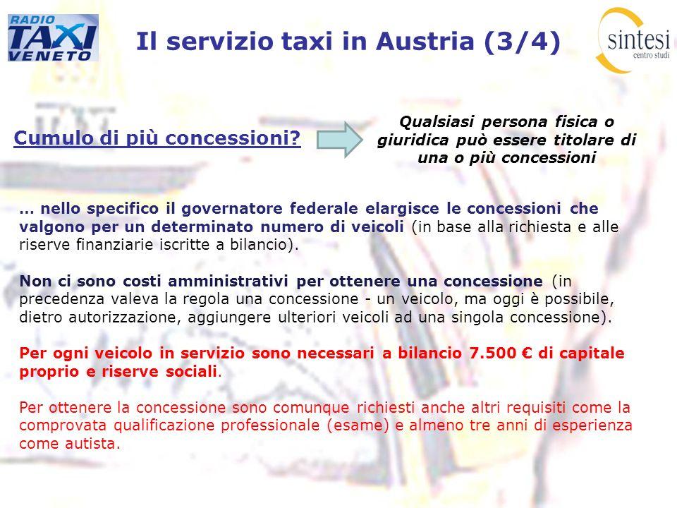Il servizio taxi in Austria (3/4) Cumulo di più concessioni? Qualsiasi persona fisica o giuridica può essere titolare di una o più concessioni … nello