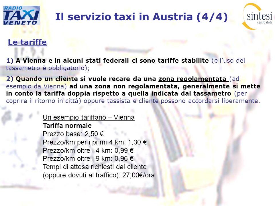 Il servizio taxi in Austria (4/4) Le tariffe 1) A Vienna e in alcuni stati federali ci sono tariffe stabilite (e luso del tassametro è obbligatorio);