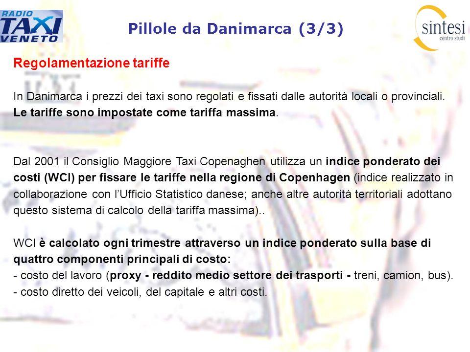 Pillole da Danimarca (3/3) Regolamentazione tariffe In Danimarca i prezzi dei taxi sono regolati e fissati dalle autorità locali o provinciali. Le tar