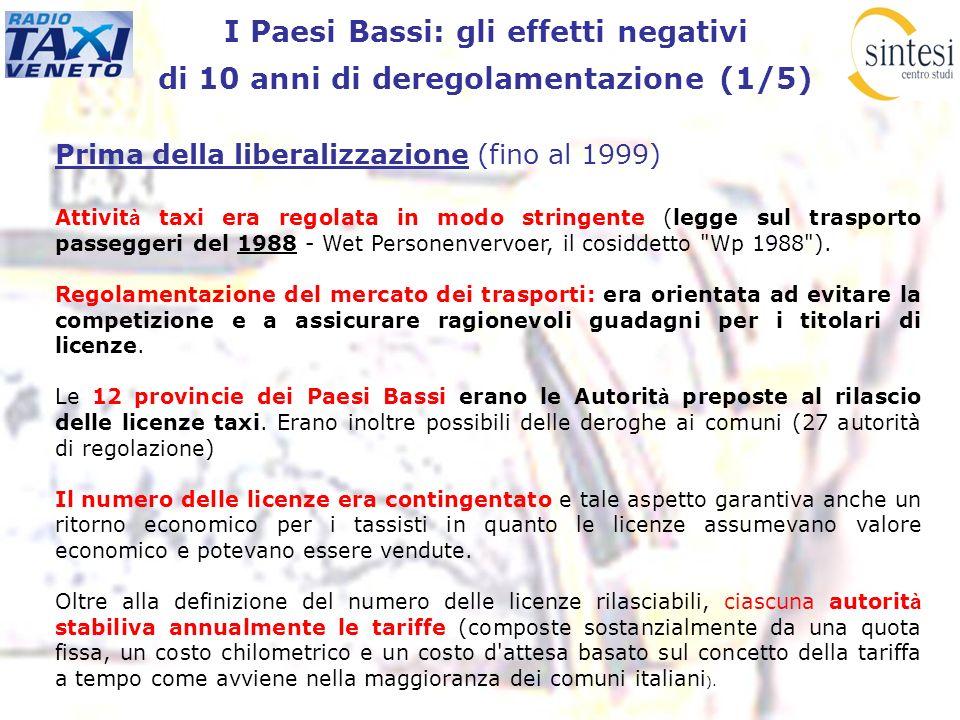 I Paesi Bassi: gli effetti negativi di 10 anni di deregolamentazione (1/5) Prima della liberalizzazione (fino al 1999) Attivit à taxi era regolata in