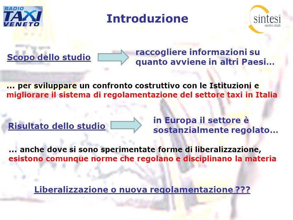 Introduzione Scopo dello studio … per sviluppare un confronto costruttivo con le Istituzioni e migliorare il sistema di regolamentazione del settore t