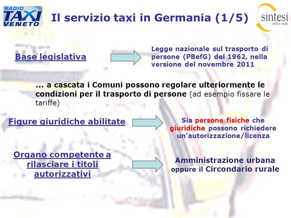 Il servizio taxi in Germania (1/5) Base legislativa … a cascata i Comuni possono regolare ulteriormente le condizioni per il trasporto di persone (ad
