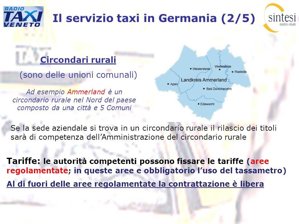 Il servizio taxi in Germania (2/5) Circondari rurali (sono delle unioni comunali) Ad esempio Ammerland è un circondario rurale nel Nord del paese comp