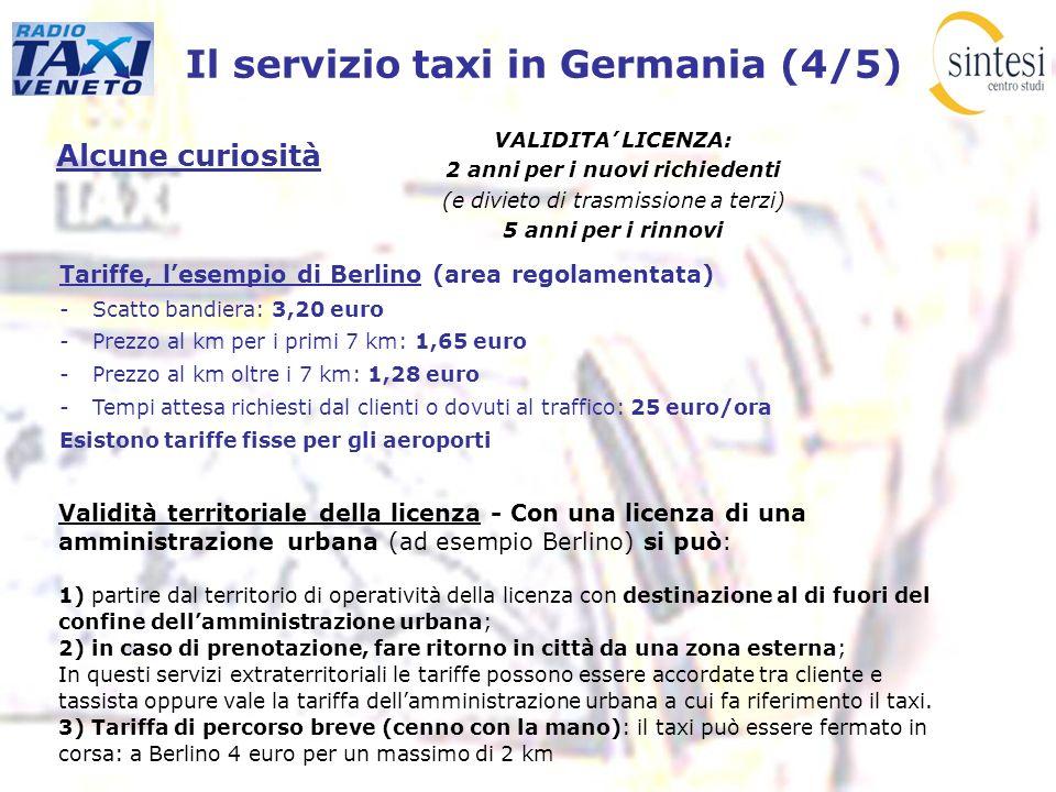 Il servizio taxi in Germania (4/5) Alcune curiosità VALIDITA LICENZA: 2 anni per i nuovi richiedenti (e divieto di trasmissione a terzi) 5 anni per i