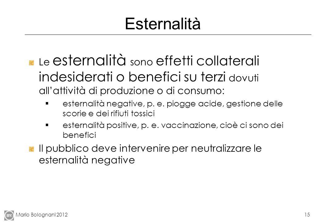Mario Bolognani 201215 Esternalità Le esternalità sono effetti collaterali indesiderati o benefici su terzi dovuti allattività di produzione o di cons