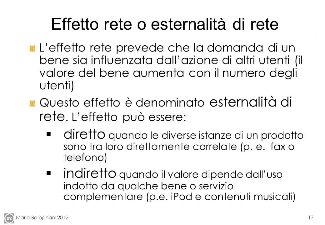 Mario Bolognani 201217 Effetto rete o esternalità di rete Leffetto rete prevede che la domanda di un bene sia influenzata dallazione di altri utenti (