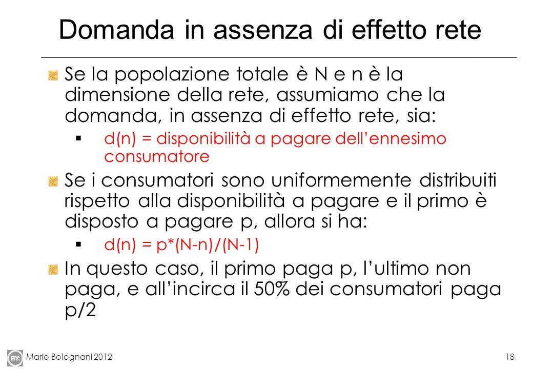 Mario Bolognani 201218 Domanda in assenza di effetto rete Se la popolazione totale è N e n è la dimensione della rete, assumiamo che la domanda, in as