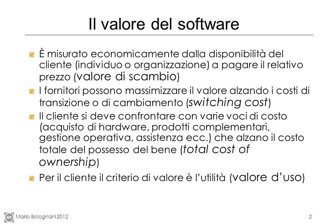 Mario Bolognani 20122 Il valore del software È misurato economicamente dalla disponibilità del cliente (individuo o organizzazione) a pagare il relati