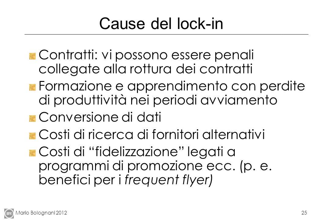 Mario Bolognani 201225 Cause del lock-in Contratti: vi possono essere penali collegate alla rottura dei contratti Formazione e apprendimento con perdi
