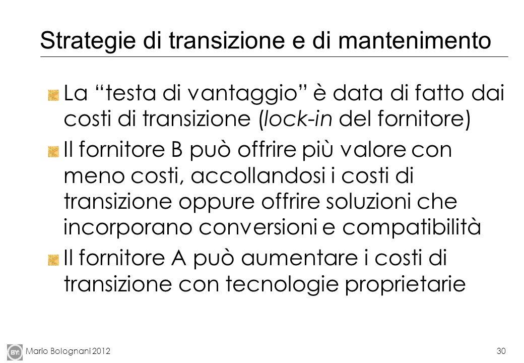 Mario Bolognani 201230 Strategie di transizione e di mantenimento La testa di vantaggio è data di fatto dai costi di transizione (lock-in del fornitor