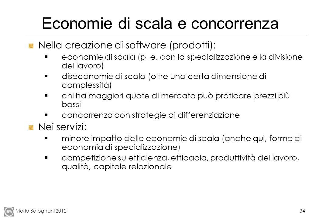 Mario Bolognani 201234 Economie di scala e concorrenza Nella creazione di software (prodotti): economie di scala (p. e. con la specializzazione e la d