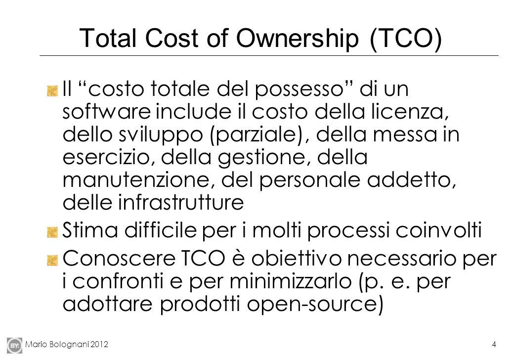 Mario Bolognani 20124 Total Cost of Ownership (TCO) Il costo totale del possesso di un software include il costo della licenza, dello sviluppo (parzia