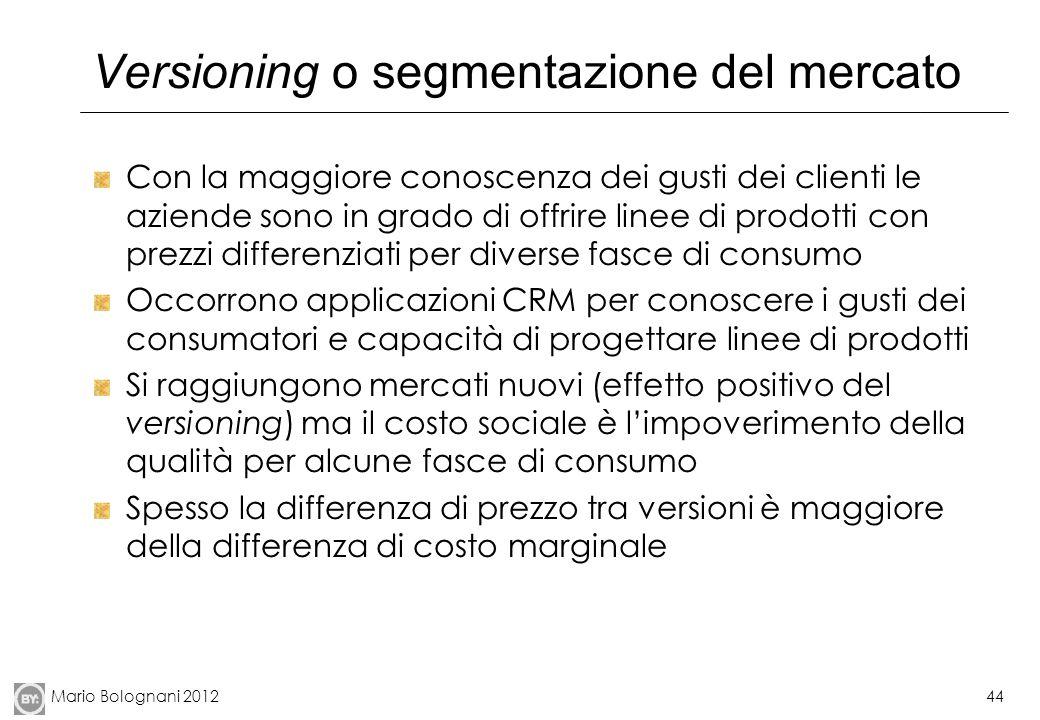 Mario Bolognani 201244 Versioning o segmentazione del mercato Con la maggiore conoscenza dei gusti dei clienti le aziende sono in grado di offrire lin