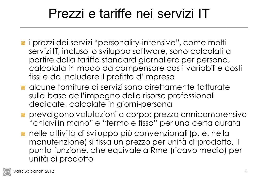 Mario Bolognani 20126 Prezzi e tariffe nei servizi IT i prezzi dei servizi personality-intensive, come molti servizi IT, incluso lo sviluppo software,
