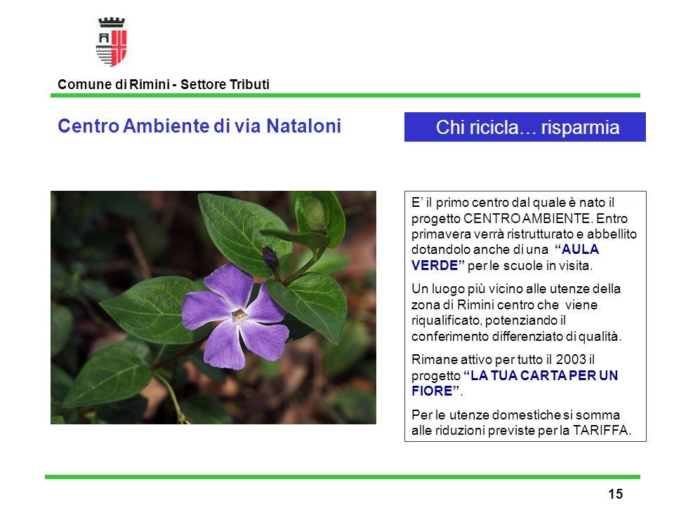 Centro Ambiente di via Nataloni Comune di Rimini - Settore Tributi 15 Chi ricicla… risparmia E il primo centro dal quale è nato il progetto CENTRO AMBIENTE.