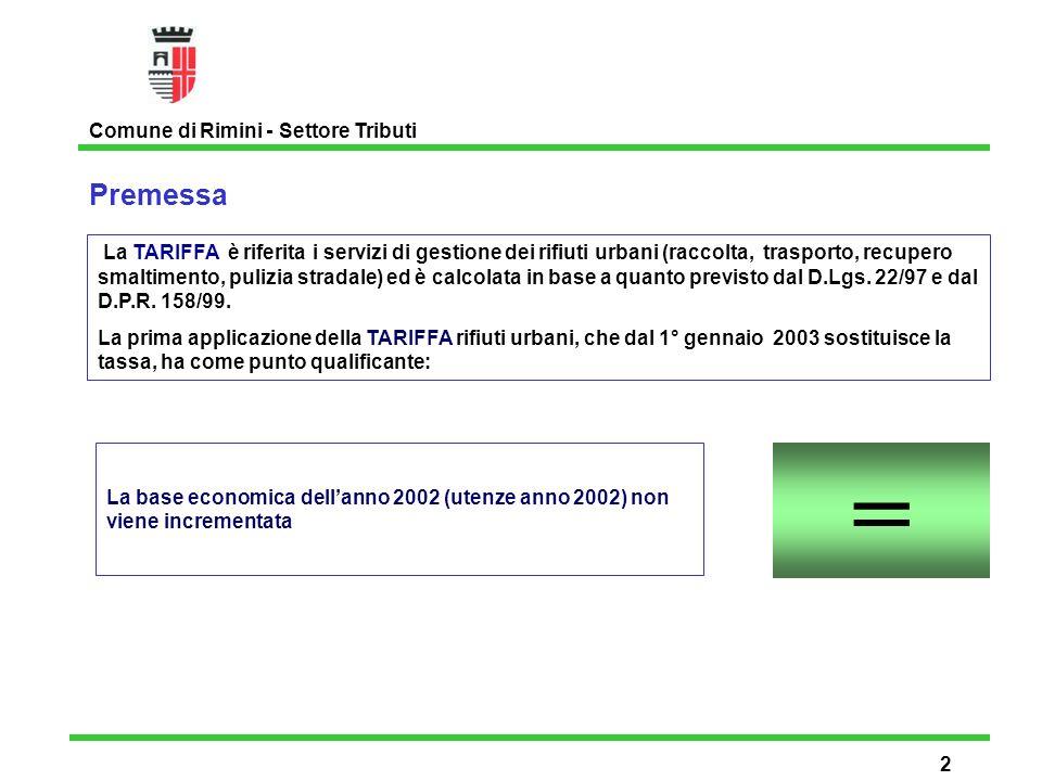 Nuove raccolte differenziate alle utenze economiche turistiche Comune di Rimini - Settore Tributi 13 LIFE 02 ENV/IT/0012 Un nuovo progetto pilota sulle raccolte differenziate finanziato dallUnione Europea che prevede, a partire da giugno 2003, il potenziamento delle raccolte differenziate presso le utenze della spiaggia di Rimini.