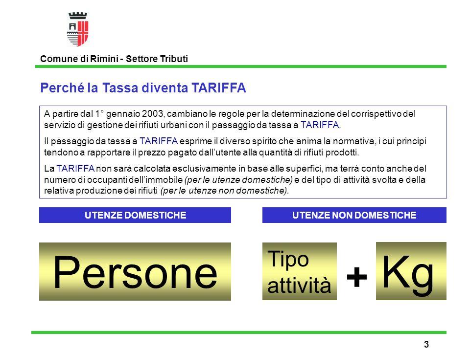 Perché la Tassa diventa TARIFFA Comune di Rimini - Settore Tributi 3 A partire dal 1° gennaio 2003, cambiano le regole per la determinazione del corrispettivo del servizio di gestione dei rifiuti urbani con il passaggio da tassa a TARIFFA.