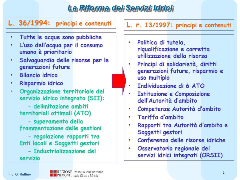 13 Direzione Pianificazione delle Risorse Idriche Ing.