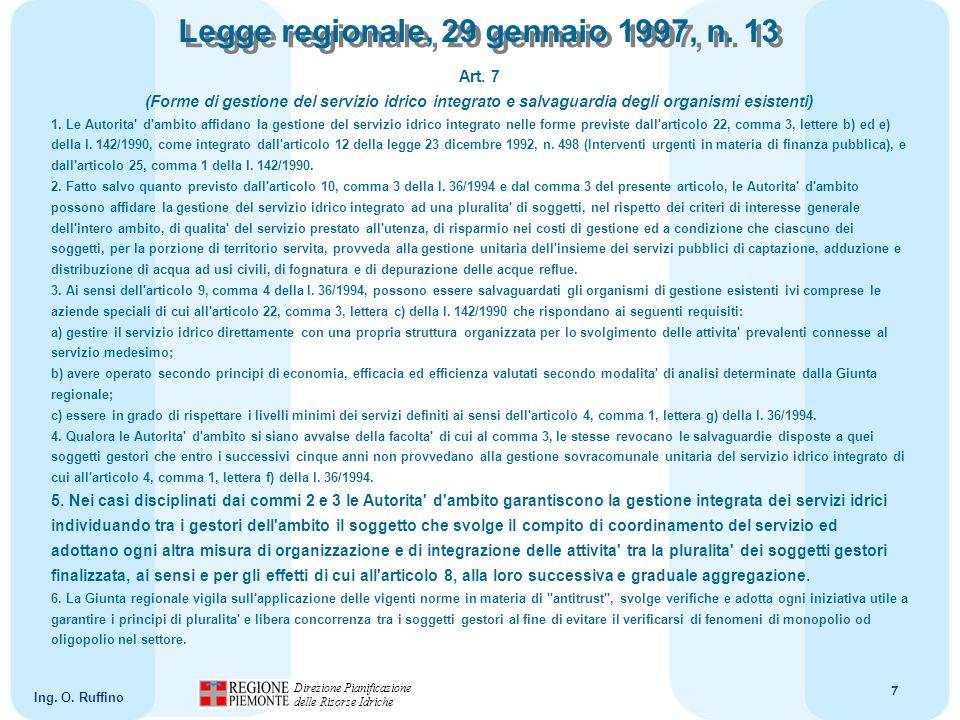 8 Direzione Pianificazione delle Risorse Idriche Ing.