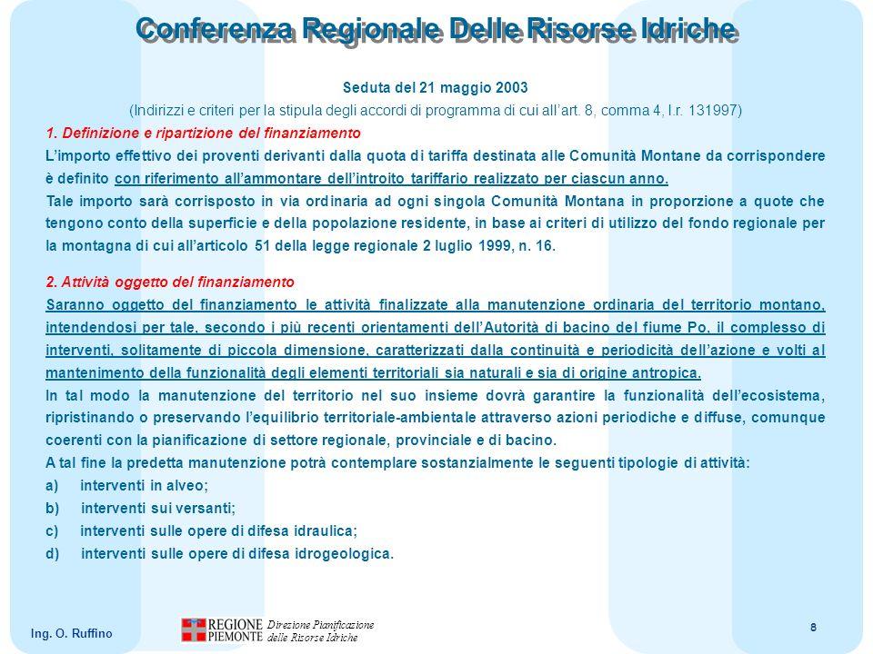 9 Direzione Pianificazione delle Risorse Idriche Ing.
