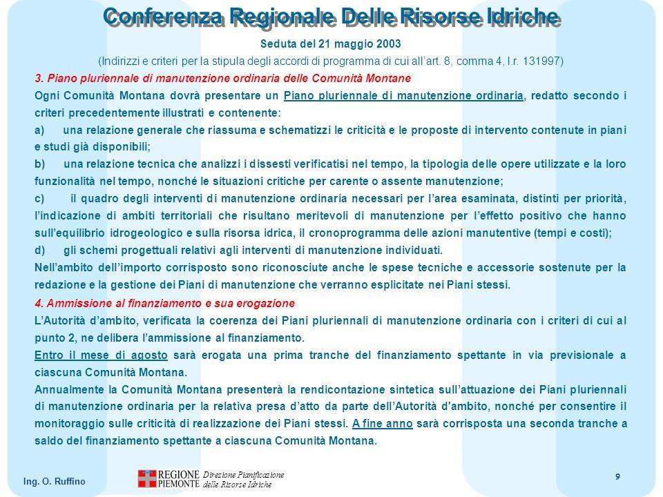 10 Direzione Pianificazione delle Risorse Idriche Ing.