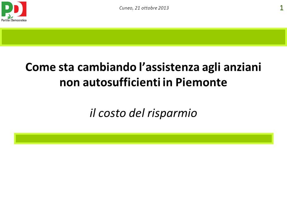 Cuneo, 21 ottobre 2013 Come sta cambiando lassistenza agli anziani non autosufficienti in Piemonte il costo del risparmio 1