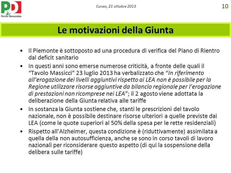 Cuneo, 21 ottobre 2013 Le motivazioni della Giunta Il Piemonte è sottoposto ad una procedura di verifica del Piano di Rientro dal deficit sanitario In