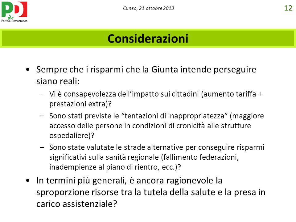 Cuneo, 21 ottobre 2013 Considerazioni Sempre che i risparmi che la Giunta intende perseguire siano reali: –Vi è consapevolezza dellimpatto sui cittadi