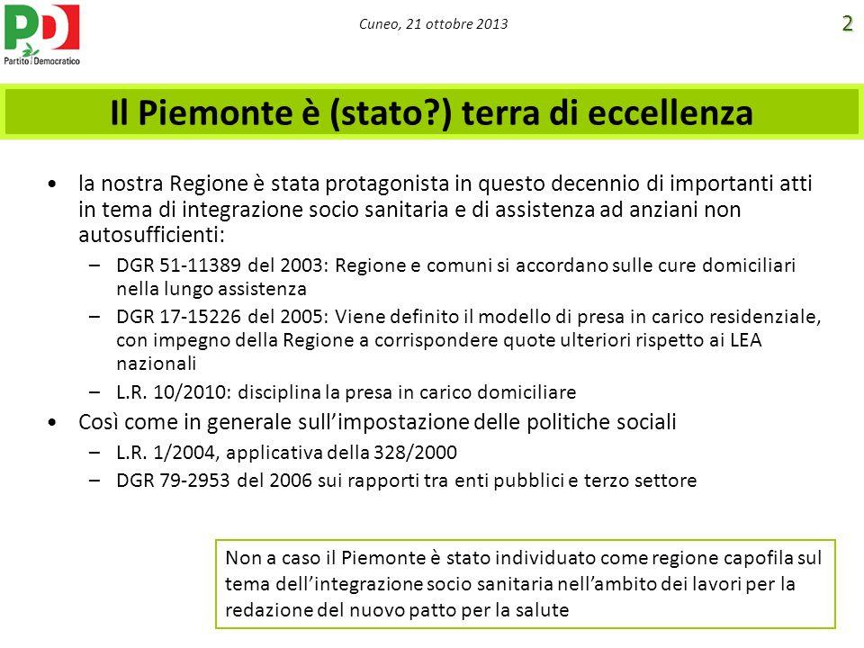 Cuneo, 21 ottobre 2013 Il Piemonte è (stato?) terra di eccellenza la nostra Regione è stata protagonista in questo decennio di importanti atti in tema