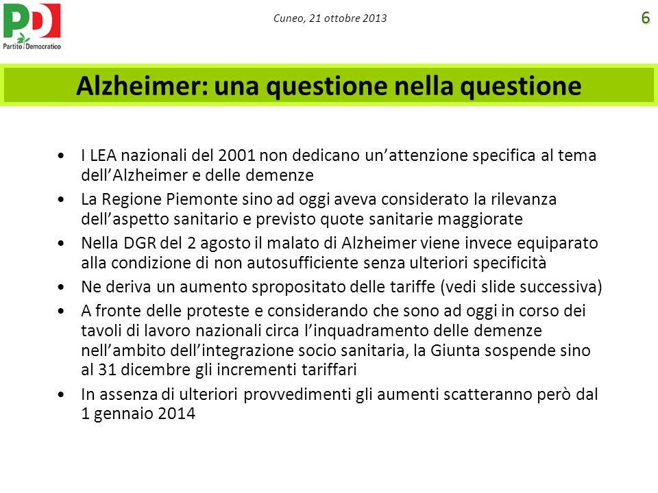 Cuneo, 21 ottobre 2013 Alzheimer: una questione nella questione I LEA nazionali del 2001 non dedicano unattenzione specifica al tema dellAlzheimer e d