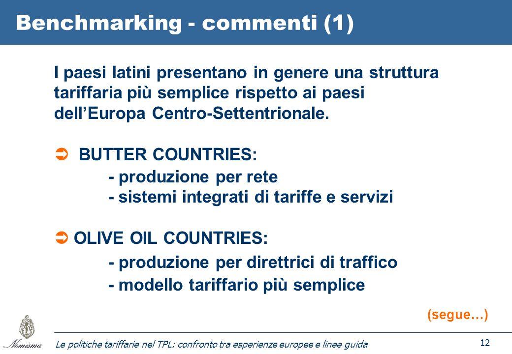 Le politiche tariffarie nel TPL: confronto tra esperienze europee e linee guida 12 Benchmarking - commenti (1) I paesi latini presentano in genere una struttura tariffaria più semplice rispetto ai paesi dellEuropa Centro-Settentrionale.