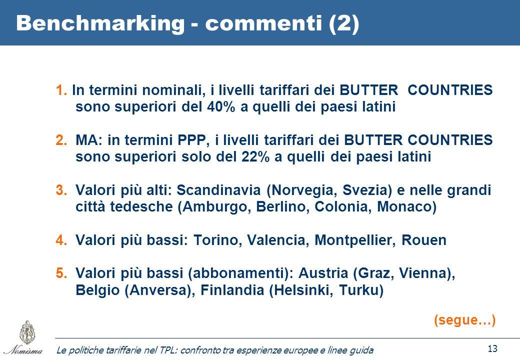 Le politiche tariffarie nel TPL: confronto tra esperienze europee e linee guida 13 Benchmarking - commenti (2) 1. In termini nominali, i livelli tarif